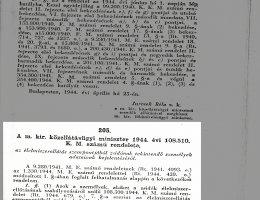 108510/1944 K. M. sz. rendelet