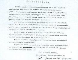 Egy megmentett nyilatkozata Endre László csendőrtiszthelyettes tetteiről (1945)