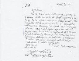 Gábor Zsuzsanna igazolja, hogy 1944-ben Endre László mentette meg (1945)