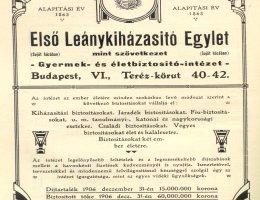 Az Első Leánykiházasító Egylet hirdetménye