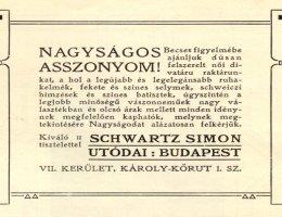 A Schwarz-féle divatáru üzlet reklámja