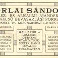Orlai nászajándéküzletének hirdetése
