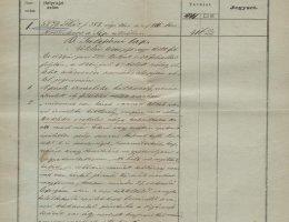 Az Síp utcai telek megvásárlásának bejegyzése a birtoklapon (1844)