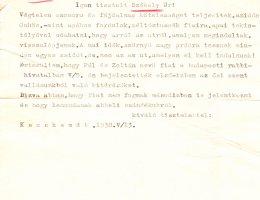 A kecskeméti neológ hitközség rabbijának levele egy helyi férfihoz, akinek a fiai bejelentették kikeresztelkedési szándé